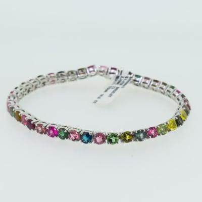 Silver link multi tourmaline bracelet image