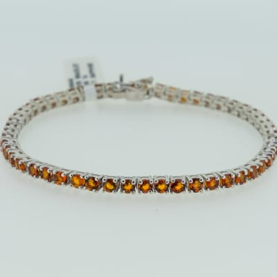 Silver link chain with sapphire gemstones bracelet image