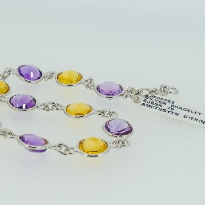 Silver amethyst citrine bracelet image