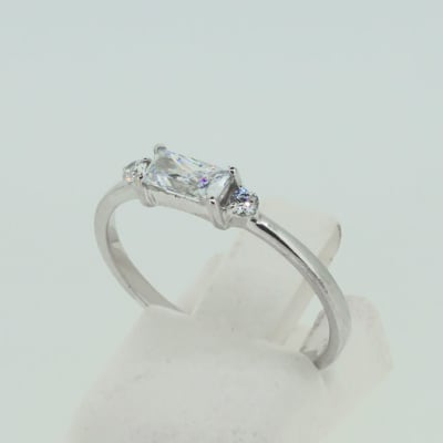 Engagement silver four pronged baguette crystal ring  image