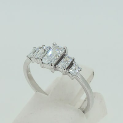 Engagement silver and 5-baguette crystals ring image
