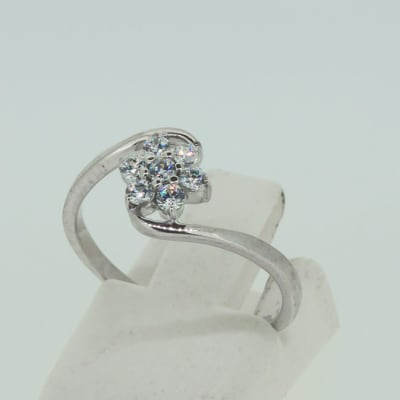 White gold 9k engagement with crystal tension cluster ring image
