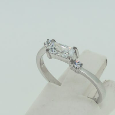 Engagement silver and 1-baguette cut crystal + 2-crystals ring image