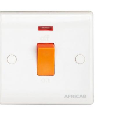 Africab Plain White  Utility Switch with Indicator image