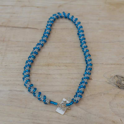 Beaded Blue  Rope Necklace image