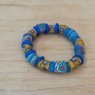 Bracelet Assorted Beads Blue and Yellow  image