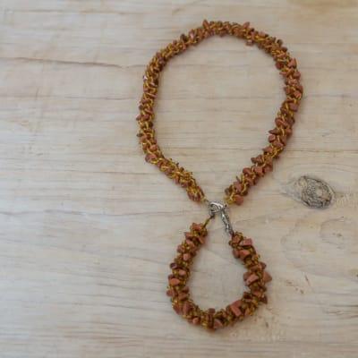 Beaded  Brown   Rope Necklace & Bracelet image