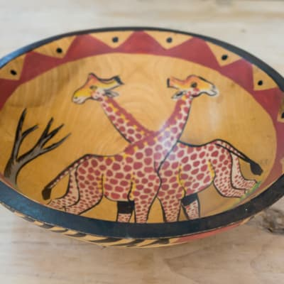 African Wooden Traditional Fruit Bowl 3 image