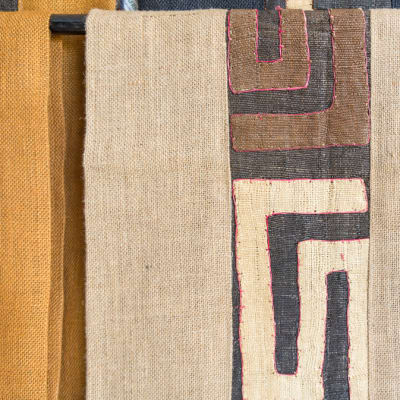 African Beige Table Linen Fabric image