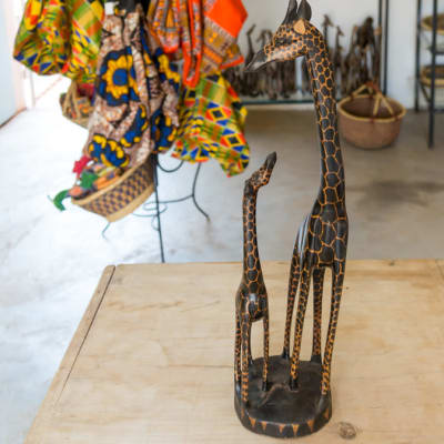 Wooden  Sculpture Curving of 2 African Giraffes image