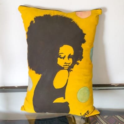 Yellow Cushion with drawing of a lady image