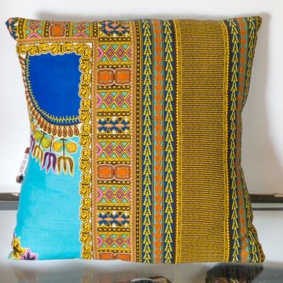 Yellow and Blue Cotton Linen Cushion image