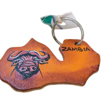 Key Ring Buffalo Head Zambia Wooden Map image