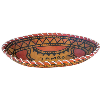 African  Wooden  Fruit Bowl with Greeting in Swahili image