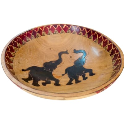 African  Wooden  Fruit Bowl with Two Elephants image