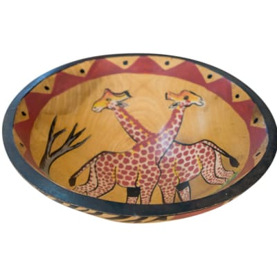 African  Wooden  Fruit Bowl Two Giraffes and Tree image