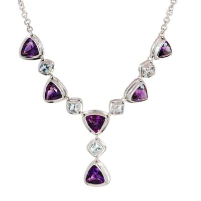 Amethyst & Aquamarine  Silver Bezel Necklace image