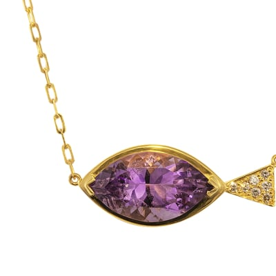 Yellow Gold   Amethyst & Diamond  Fish Shaped Necklace  image