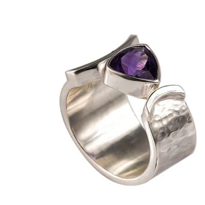Silver Bezel Amethyst  Ring image