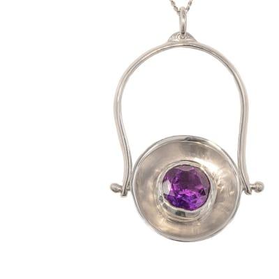 Silver Amethyst  Silver Calabash Pendant image