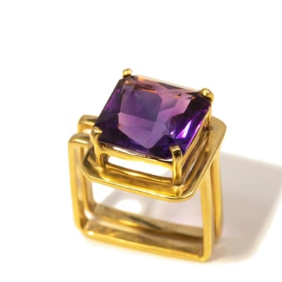 Square Split Shank Amethyst   Ring  image