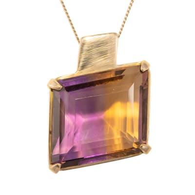 Square Silver Plated Gold Ametrine  Pendant image