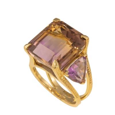 Yellow Gold Ametrine & Amethyst Trilogy Ring image