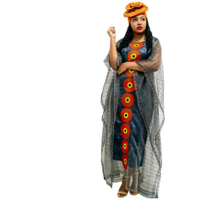 Ankara Bubu - Grey with red circles orange head wrap image