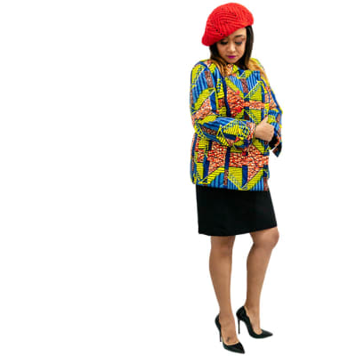 Ankara Jacket - Yellow, red, blue with red buttons image