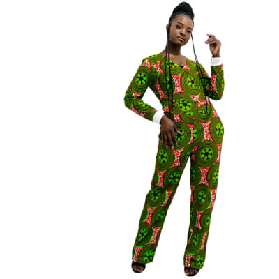 Ankara Jumpsuit - Green with red image