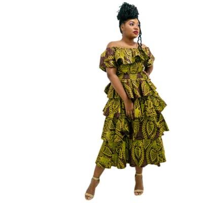 Ankara Print Off - shoulder dress, Green flowery dress image