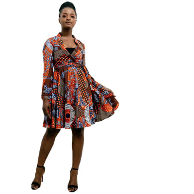 Short Ankara Wrap dress - Long sleeves with brown, red brick with blue prints image