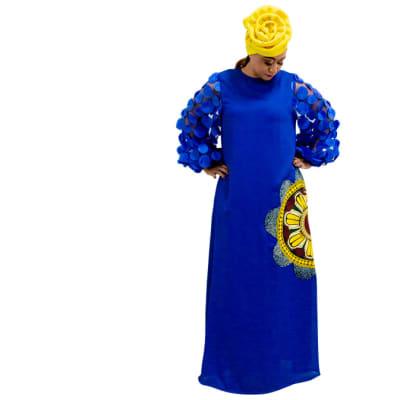 Ankara maxi dress - Blue, yellow image