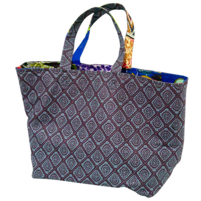 Ankara shopping bag - Brown & blue image