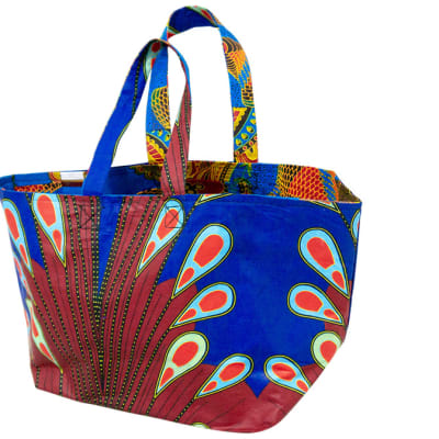 Ankara shopping bag - Maroon & blue image