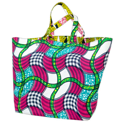 Ankara shopping bag - Pink, green & blue image