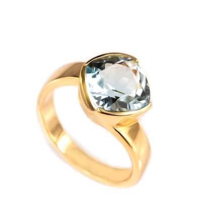 Yellow Gold Aquamarine  Bezel Ring  image