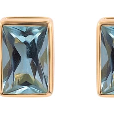 Yellow Gold Earrings  Aquamarine  Bezel Studs image