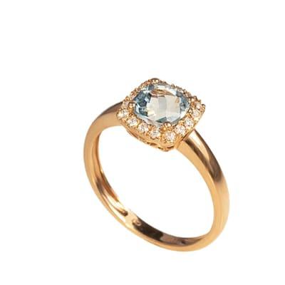 Rose Gold Aquamarine  Classic Pave Ring image