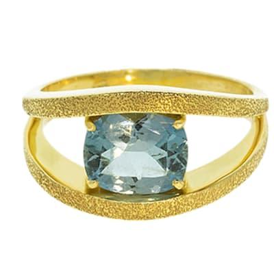 Yellow Gold Aquamarine  Double Ring  image