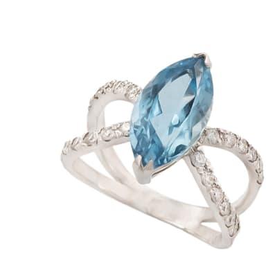 White Gold Aquamarine  Marquise Ring image