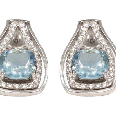 White Gold  Aquamarine & Pave Set Diamond Earrings  image