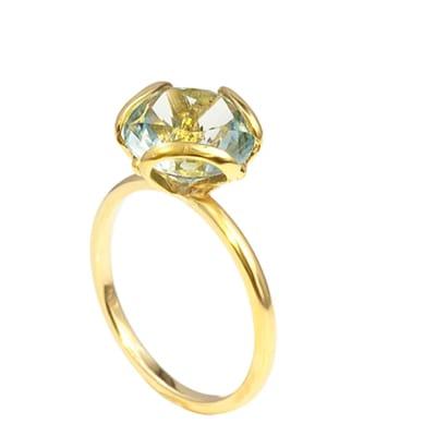 Yellow Gold Aquamarine  Petal Ring image