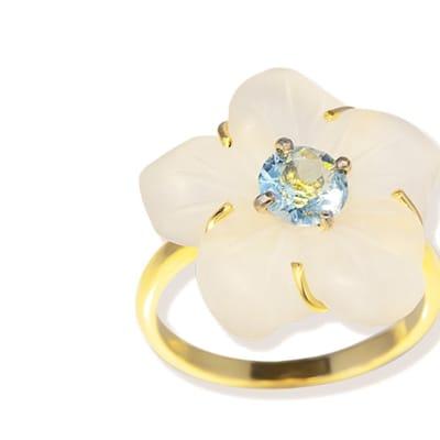 Yellow & White Aquamarine & Quartz  Flower Ring  image