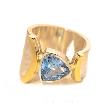 Silver Bezel Set Stone Aquamarine Ring  image