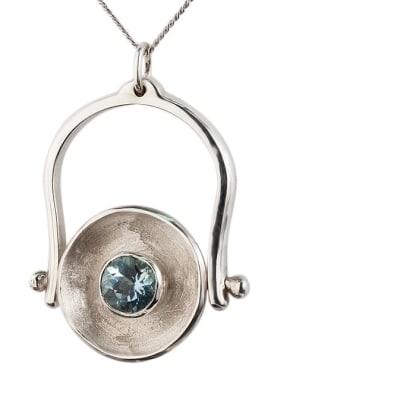 Silver  Aquamarine  Calabash Ring, Pendant  image