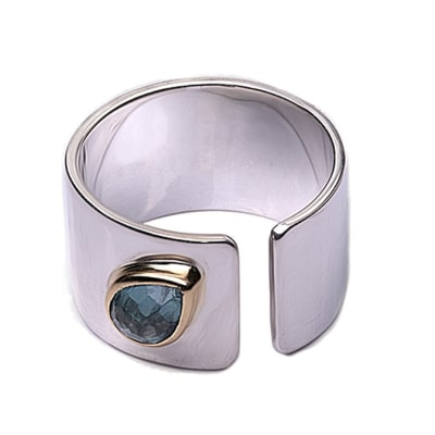 Silver  Aquamarine  Open Wide Shank Ring  image