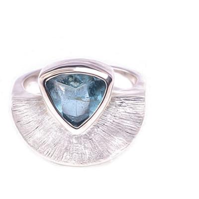 Silver  Aquamarine  Sun Rays Ring  image