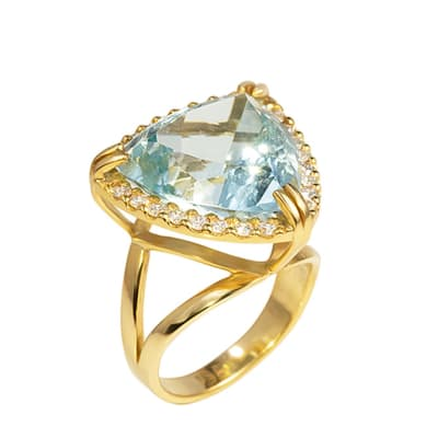 Trillion  Aquamarine Yellow Gold Ring image