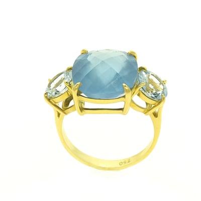 Yellow Gold Aquamarine  Trilogy Ring image